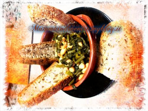 zuppa di sedano e fagioli con pane di altamura ai semi di lino e girasole