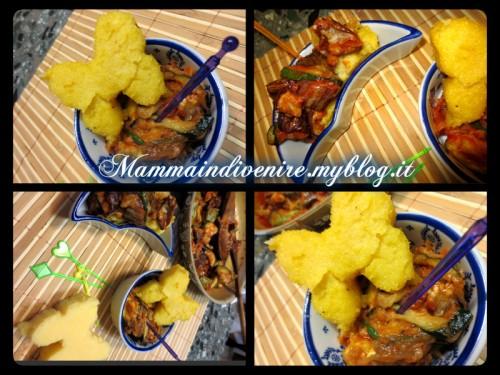 farfalle di polenta fritte su letto di verdure